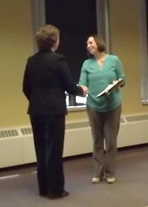 Gina Receiving Her Lean Facilitator Certificate