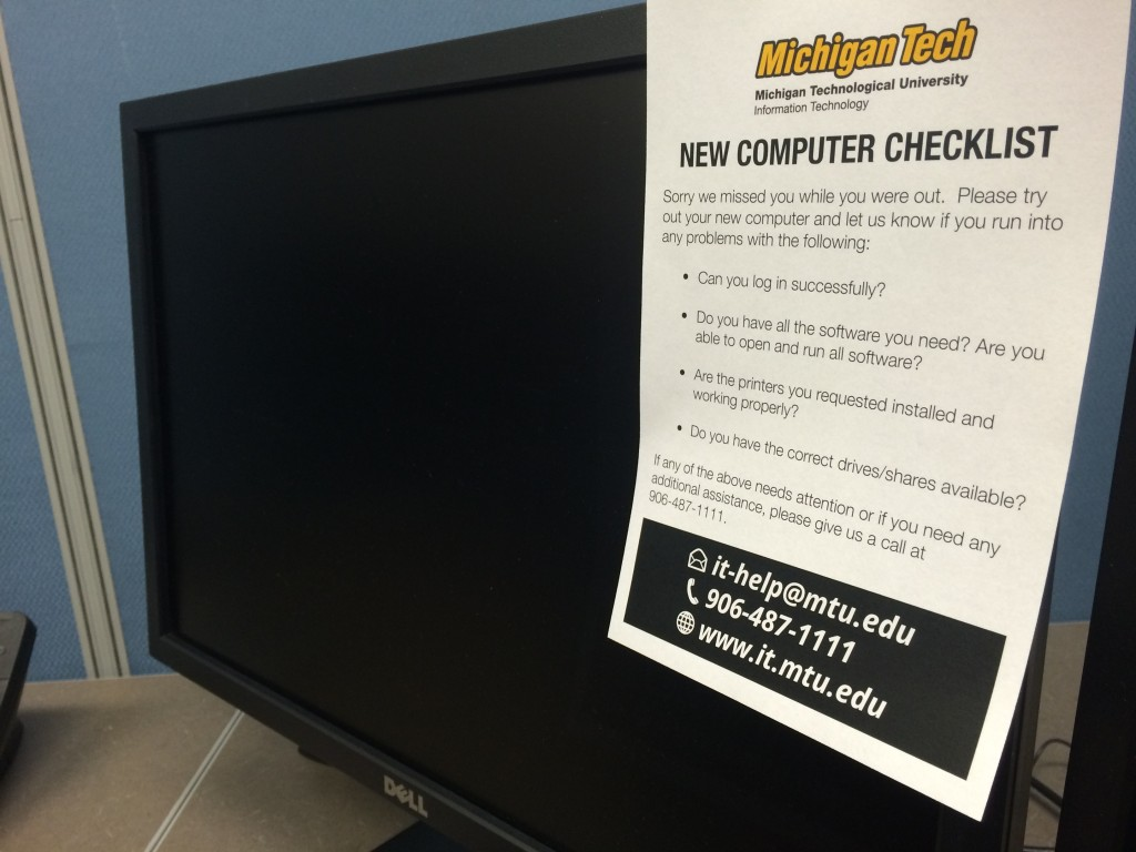 One of the deliverables: a new computer checklist which now accompanies each new deployment.
