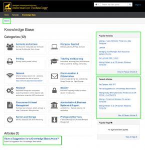 Knowledge Base home page