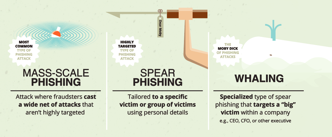 three types of phishing: mass scale phishing, spear phishing, and whaling