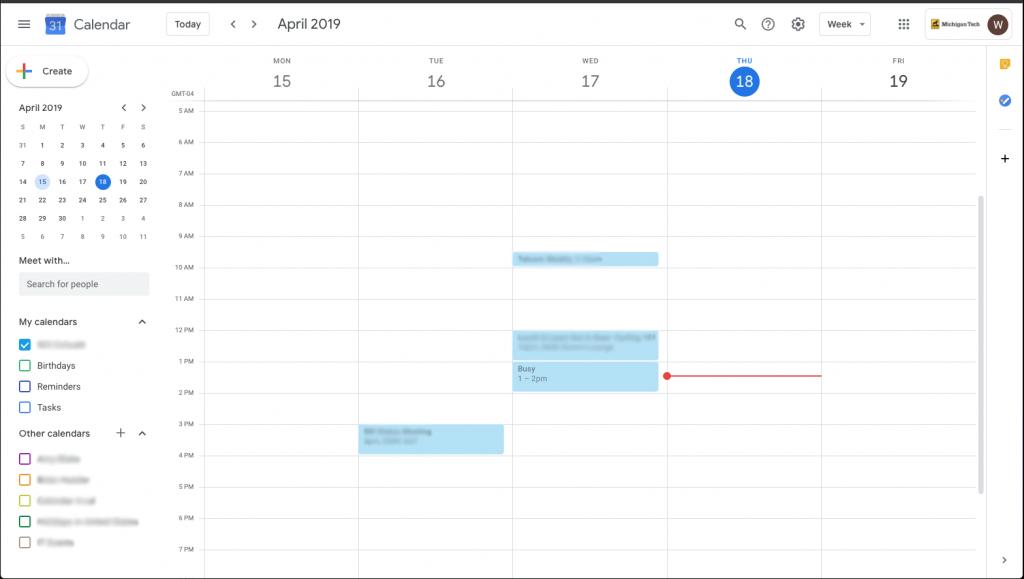 Only user's calendar present