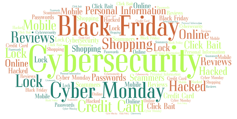 Cybersecurity  Black Friday  Cyber Monday Shopping Credit Card Personal Information Reviews Hacked Click Bait Lock Mobile Scammers Passwords Online