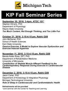 KIP Fall 2016 Seminar Series