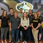 KIP students from Dr. Steven Elmer's Advanced Exercise Physiology class. From left to right, back row; Sarah LewAllen (MS), Benjamin Cockfield (MS), Andrea Serrano (PhD), Isaac Wedig (PhD), Nehemiah McIntyre (MS). Front row; Josh Gonzalez (PhD), Jessica Pitts (MS), Jessica Bruning (PhD).