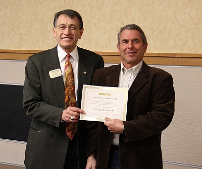 Peter Bingham was presented with a Certificate of Appreciation by Dr. William Predebon at the Mechanical Engineering Senior Awards Banquet December 2013