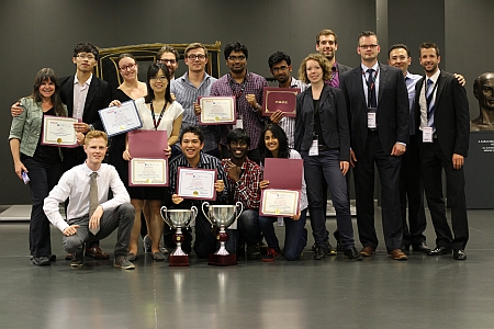 Awards ceremony Photo courtesy of TU Darmstadt includes Michigan Tech  participant Krishna Tej Bhamidipati with the other universities on the team