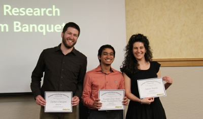 Recipients of GSG Service Award: Zachary Champion, School of Technology; Muraleekrishnan Menon, ME-EM; and Sasha Teymorian standing in for Samuel Roache, Chemical Engineering