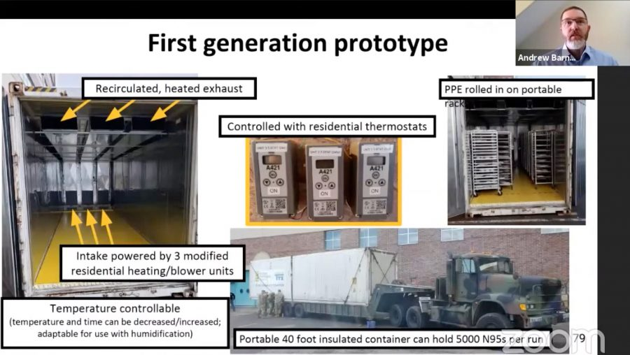 Andrew Barnard's presentation with one screen on the first generation prototype.