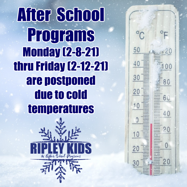After School Programs postponed for the week of February 8.