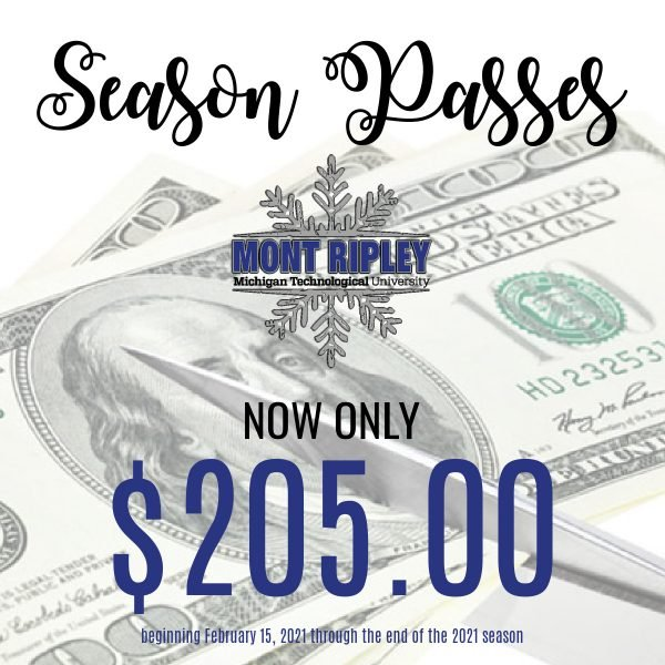 photo of scissors cutting money with text reading 'season passes now only $205.00 beginning February 15, 2021 through the end of the 2021 season'