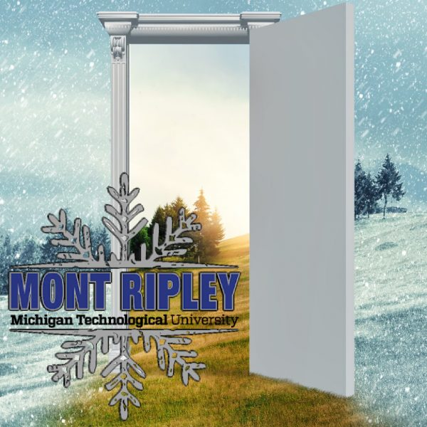Opened door on a field during winter which leads to a warmer season. Changing season through the door concept. Mont Ripley logo.