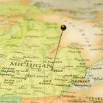 Travel Road Map Of Flint And Detroit Michigan