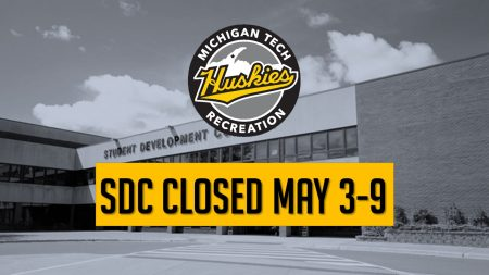 The SDC will be closed May 3-9 for maintenance. Gates Tennis Center & the Tech Trails will be open during this time. Summer building hours begin May 10.
