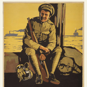 Vintage drawing of a soldier with gun sitting on a boat