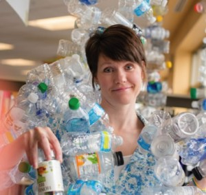 Melissa Michaelson with plastic bottles.