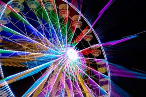 ferris wheel blurred motion coloured