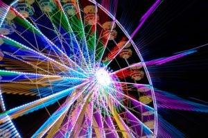 ferris wheel blurred motion coloured