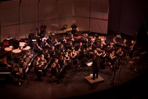 """Superior Wind Symphony, from their 2016 concert """"Be Here Now. Mike Christianson, Director of Bands, conducting."""