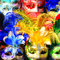 Colorful face masks with feathers on top