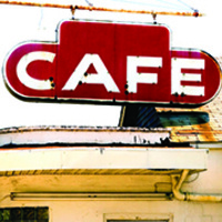 Old fashioned cafe sign graphic