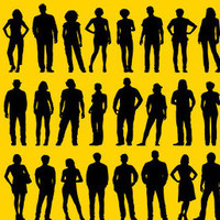 Three rows of eight of people silhouettes
