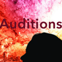 "Silhouette of a person's head with test ""Auditions"" in the background"