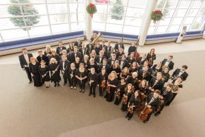 Keweenaw Symphony Orchestra in the lobby of the Rozsa