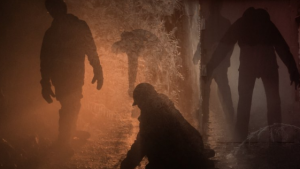 Silhouettes of miners