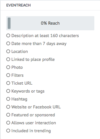 Screen shot of the EventReach score