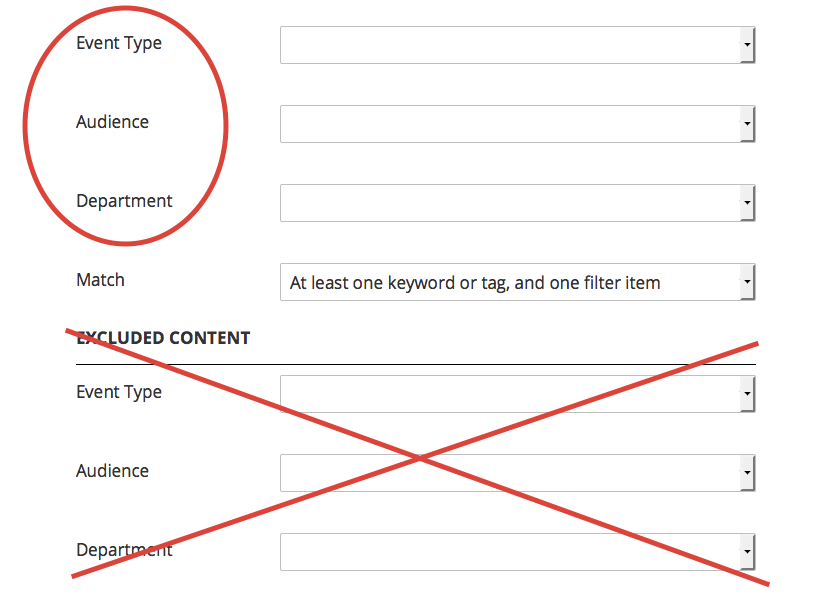 Screen shot of the correct fields as opposed to the excluded content section.