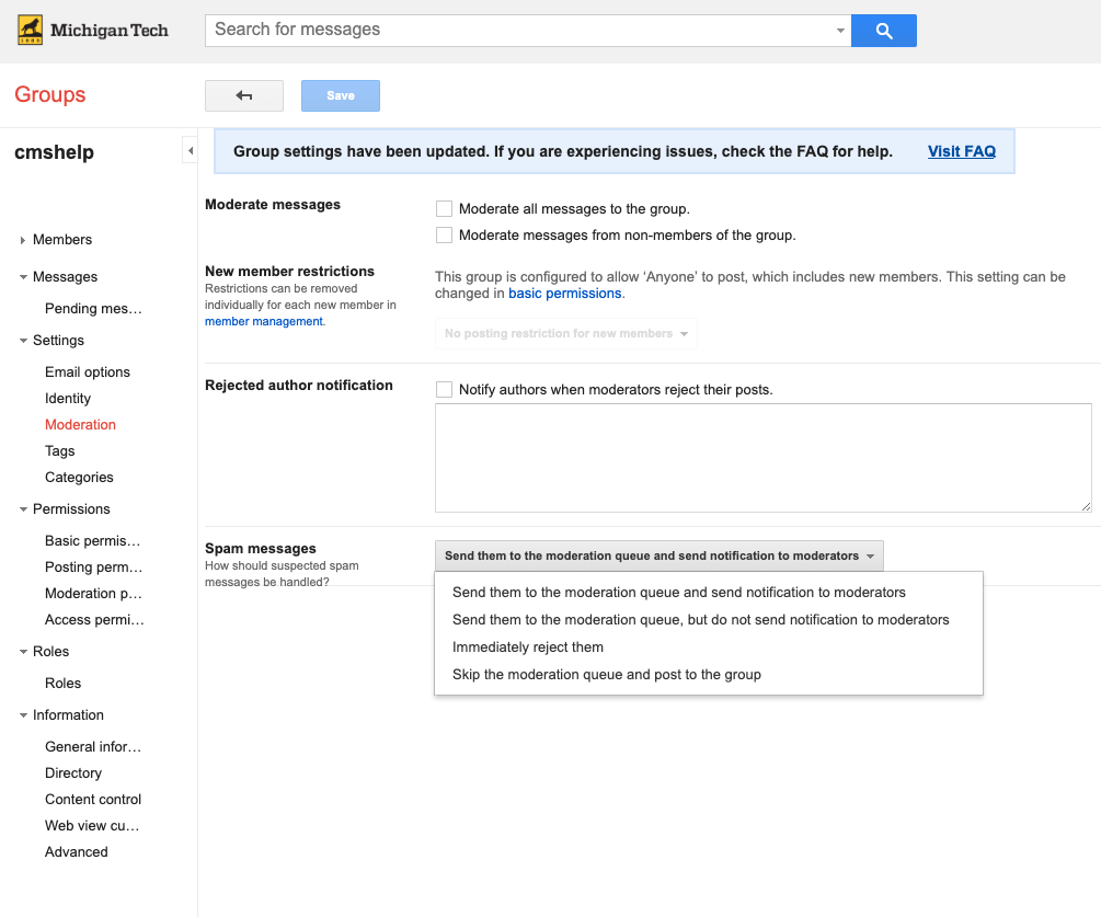 Google Group moderation settings.