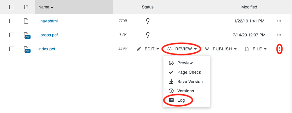 Log option in the More Actions menu on the Pages List View.