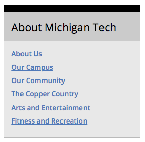 About Michigan Tech boxed sidebar.