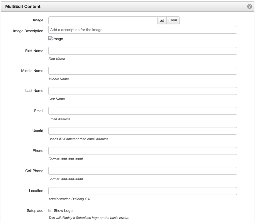 Screenshot of the first section of the MultiEdit Content window.
