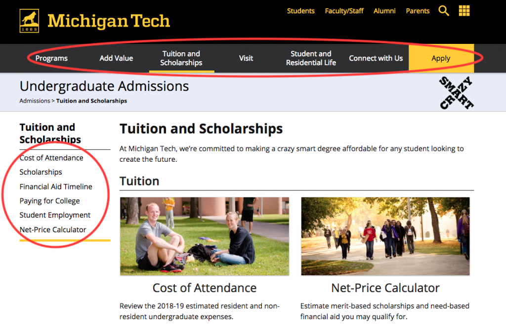 Example webpage with top and left navigation circled.