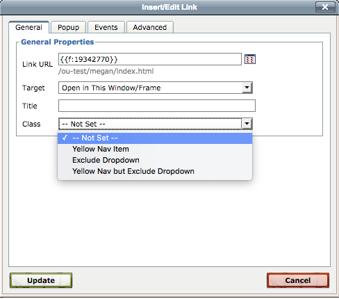 Screen shot of the insert link window showing the class dropdown.
