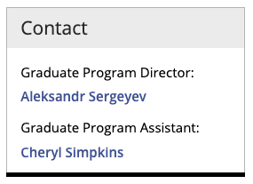 Example of a Graduate Program Contact sidebar.