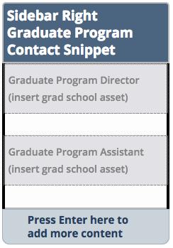 Sidebar right graduate program contact snippet.
