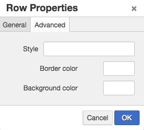screen shot of the advanced tab of row properties