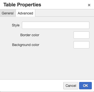 Screen shot of the advanced tab of table properties