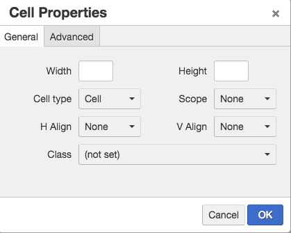 Screen shot of the general tab of cell properties.
