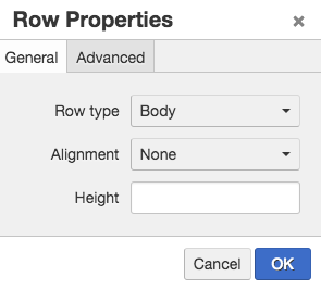 Screen shot of the general tab of row properties