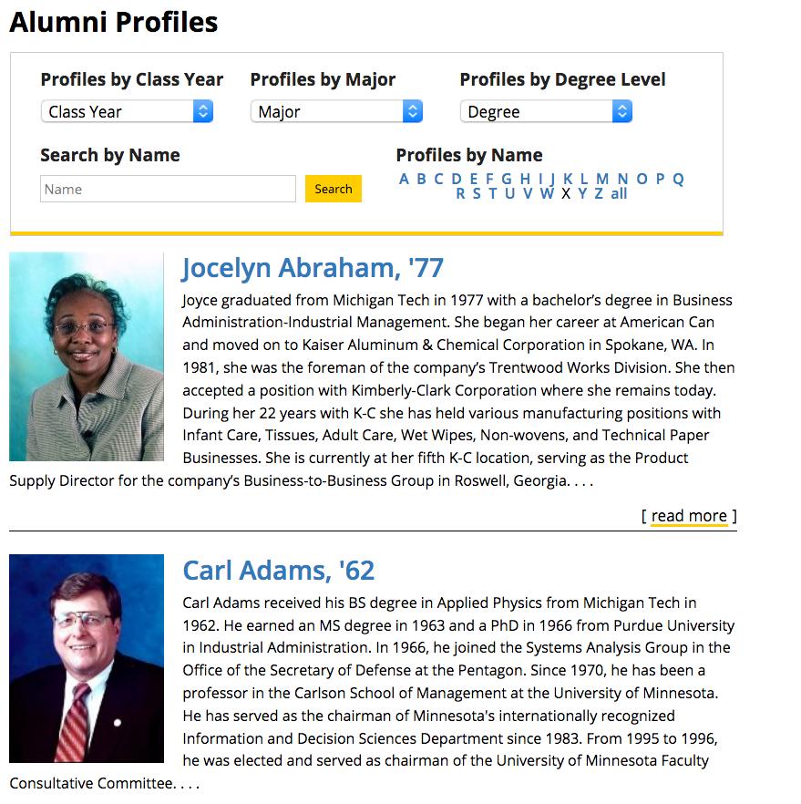 Alumni profiles listing page.