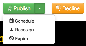 Publish menu and decline button for an approver with edit access.