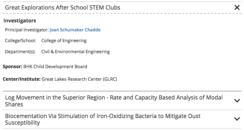 Example of research projects listed on a website.