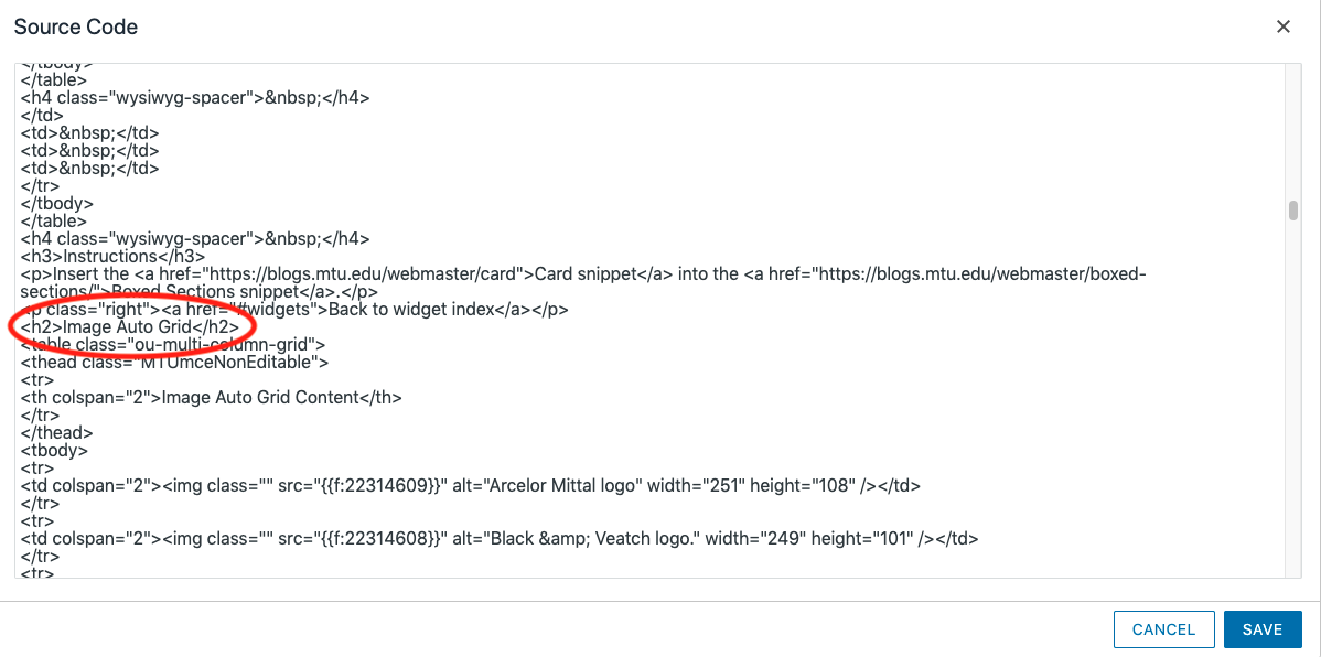 A screenshot of the source code showing the heading tag without ID.
