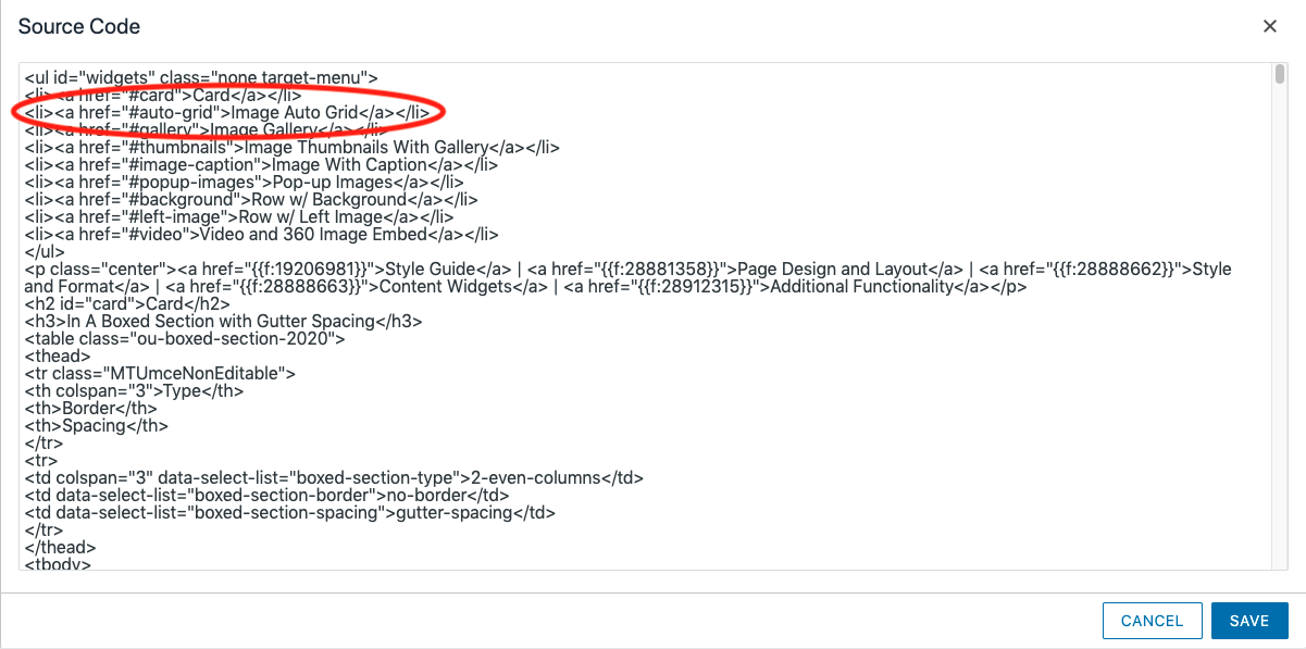 A screenshot of the code view of a link going to an ID on the same page.