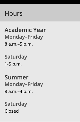 Example of academic year and summer hours in a boxed sidebar.