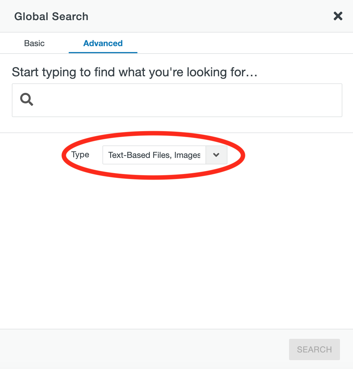 Type dropdown in the CMS Search window.