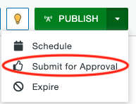 Submit for Approval option under the Publish dropdown.